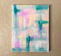 Baby Blue and Pink Abstract Acrylic Painting on Canvas by KerstenElyse on Etsy https://www.etsy.com/listing/247583275/baby-blue-and-pink-abstract-acrylic