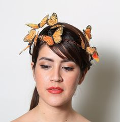 Orange Monarch Butterfly Crown  wedding bride por neesiedesigns