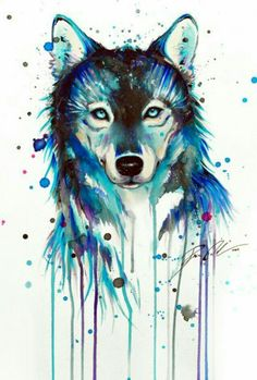 Wolf in Watercolour. Seen as a totem of power and strength, a pillar of wisdom, a spiritual guide and a totem of the Afterlife (Native American).