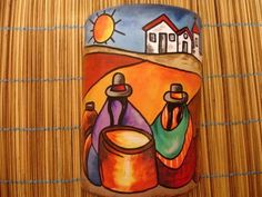 telha pintada a mao com massa corrida - Pesquisa Google: Stone Painting, Painting On Wood, Painted Rocks, Hand Painted, Peruvian Art, Diy And Crafts, Arts And Crafts, Pot Jardin, Clay Tiles