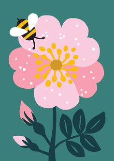 Flower illustration pattern, illustration и floral illustrations. Flower Illustration Pattern, Bee Illustration, Floral Illustrations, Graphic Design Illustration, Botanical Illustration, Guache, Arte Pop, Art Paintings, Pop Art