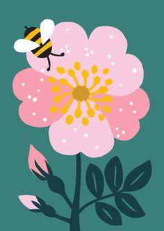 Flower illustration pattern, illustration и floral illustrations. Flower Illustration Pattern, Bee Illustration, Floral Illustrations, Graphic Design Illustration, Botanical Illustration, Guache, Arte Pop, Art Drawings, Art Projects