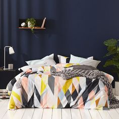 Combining vibrant colour with contemporary geometric shapes, the Apollo quilt cover set is perfect for creating a modern look in any bedroom and has been made from soft cotton for a luxurious feel. Pair with the coordinating European pillowcases to recreate this look in your home.