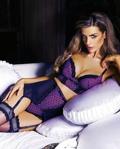 Black & Purple #Lingerie - Longline #Bra & High Waist Garter Belt/Panties