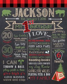 Lumberjack First Birthday Chalkboard Lumberjack 1st Birthday