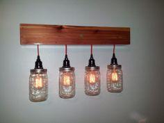 Vintage Style Vanity Wall Light  With Mason Jar by CedarWorkshop, $149.00