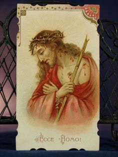 Beautiful Holy Card Ecce Homo Jesus Art Nouveau Belgian Die Cut