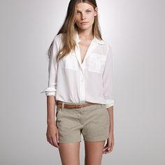 White blouse + shorts