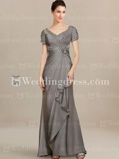 Modern Mother of Bride Dresses with Cascade Skirt MO214 This one in the gray or grape? I think I really want this in eggplant color!! I need to find a similar style so I can try it on to see if I like it on!!