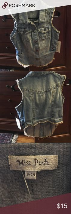 Jean jacket vest Brand new never worn. Received as a gift. Size S/CH. FITS Like a adult XS/S Miss Posh Jackets & Coats Jean Jackets