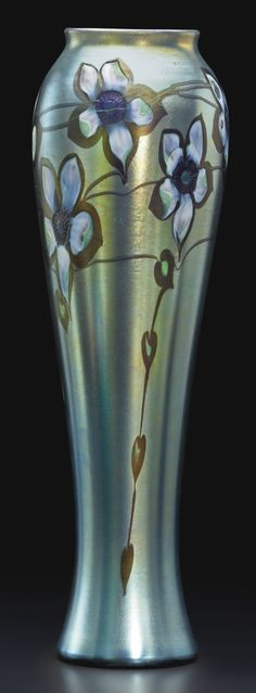 Tiffany Studios CARVED CAMEO VASE engraved 8036E L.C. Tiffany-Favrile favrile glass 17 1/2  in. (44.5 cm) high circa 1907-1910