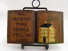 Open Book 2 People Fell Love Resin Blossom Bucket Primitive Rustic Country Decor