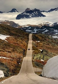 Sognefjellet, Norway. I like how the road looks like it has been sewn to the ground.
