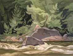 Artist: A.J. Casson, Title: PALMER RAPIDS - 20 x 26 oil on masonite (1962) Group Of Seven Art, Group Of Seven Paintings, Emily Carr Paintings, Oil Paintings, Canadian Painters, Canadian Artists, Ontario, Tom Thomson Paintings, Canada Landscape