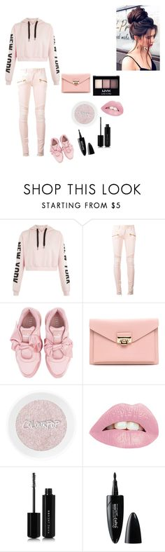 """""""Pretty in pink"""" by omegafphie2121 ❤ liked on Polyvore featuring Balmain, Puma, Marc Jacobs, Maybelline and NYX"""