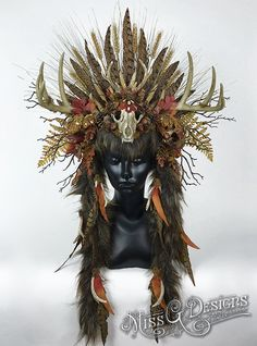 Autumn Antler Headdress Headpiece