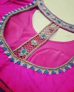 ------------- Wedding Blouses ------------ A blouse i absolutely loved making. Hot pink silk blouse with contrast french knot and beads… Source by work Brocade Blouse Designs, Simple Blouse Designs, Saree Blouse Patterns, Designer Blouse Patterns, Bridal Blouse Designs, Blouse Neck Designs, Hot Pink Blouses, Maggam Work Designs, Embroidered Blouse