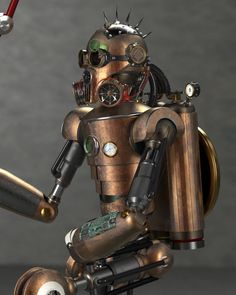 Steam Punk Robot created in PARTsolutions. 3d Cad Models, Robots, Metal Robot, Diy Ideas, Fantasy, Game, Google Search, Decor, Upcycling