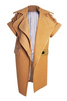 CAMPAIGN Camel Coat - Oversized camel coat by Three Floor in asymmetric design featuring double lapel, front pockets, stripe lining and gold harware. The fashion forward cut and the short sleeves make it to an essential investement for your wardrobe. Main: 69% Polyester 31% WoolLining: 100% Polyester Dry Clean Only
