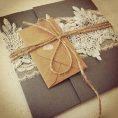 Handmade lace trim wedding or bridal shower invitations for a vintage theme event