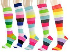 Bright  Colorful Wide Stripe Knee High Socks-Assorted 3Pack Wide Stripes, Color Stripes, Striped Knee High Socks, Trouser Socks, Sexy Socks, 6 Pack, No Show Socks, Fruit Of The Loom, Hosiery