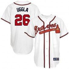 Atlanta Braves #26 Dan Uggla White Replica Baseball Jersey_Dan Uggla Baseball Jersey