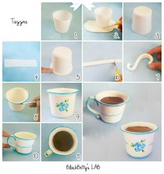 Sugar paste tea cup tutorial. BlackBetty'sLab: Tutorial Tazzina in pasta di zucchero !