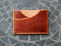 Men's Slim Double Card Leather Wallet / by GuardedGoods on Etsy, $50.00