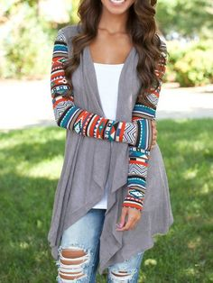 Fall Fashion Grey Geometric Print Drape Front Knit Cardigan