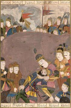 Importante miniature du «Shahnameh Tabbagh»: Iskandar réconfortant Dara [...], Tableaux Anciens, Objets d'Art, Bel Ameublement à Eve Enchères SVV   Auction.fr