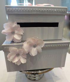Card Box Wedding Gift Money Box Wedding Card Holder Handmade in Silver and Pink (box 3) SALE