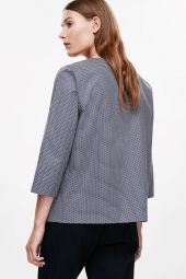 COS image 3 of Blouse with bow in Blue