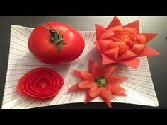 How to make tomato flower - tomato rose - fruit and vegetable carving by Nidnoi And have many more video clip about Art in Fruit and Vegetable carving-garnis. Salad Decoration Ideas, Decoration Buffet, Vegetable Decoration, Deco Buffet, Fruit Decorations, Veggie Art, Fruit And Vegetable Carving, Tomato Vegetable, Veggie Food