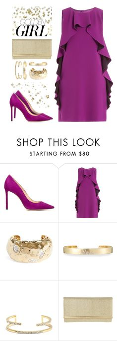 """Prom Night: plum & gold"" by muse-charming ❤ liked on Polyvore featuring Murphy, Jimmy Choo, Boutique Moschino, St. John, Sydney Evan, Jules Smith, GUSTA and Trilogy"