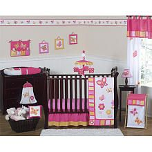 Our baby girls soon to be room set up  JoJO Designs Pink and Orange Butterfly Collection 11pc Crib Bedding Set