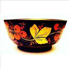 Russian Khokhloma | Russian Khokhloma Lacquer Ware Bowl - Hand Painted | Property Room