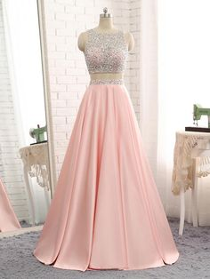 Sparkly Beaded 2 Pieces Prom Dress 2019 Custom Made Satin Beadings Long Pink School Dance Dresses Fahion Two Pieces Evening Party Dresses Source by ealdwell dresses party Prom Dresses Two Piece, Cute Prom Dresses, Backless Prom Dresses, Grad Dresses, Pretty Dresses, Homecoming Dresses, Evening Dresses, Formal Dresses, Dress Piece