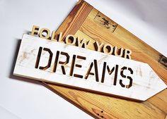 Wall Art – Drewniany napis Follow your dreams – a unique product by Drewnianedodatki on DaWanda