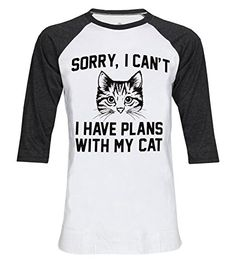 Sorry I Can't I Have Plan With My Cat 3/4 Sleeve Unisex Baseball T-Shirt Size L