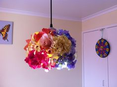 silk flower blooms attached to glass shade Dim Lighting, Silk Flowers, Glass Shades, Bloom, Ceiling Lights, Diy, Home Decor, Decoration Home, Bricolage