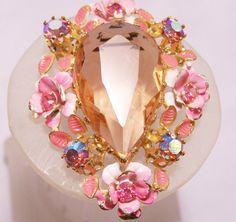 1950s Austria Pink Rhinestone Crystal Brooch with Painted Flowers Aurora Borealis Stones 904z