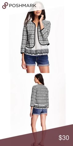 FINAL PRICE Black & White Open Front Jacket Final price, no additional discounts Details: • Size XXL • Open front  • 3/4 length sleeves • Fully lined  • Slightly boxy fit • NWT  • More photos to come   08041601 Old Navy Jackets & Coats