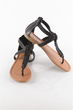 Braided Strapy Flip Flops - Black from Sandals at Lucky 21