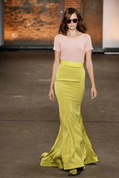 Maxi Skirt by Christian Siriano via glamour    http://tinyurl.com/7hv5zuc  #Maxi_Skirt #Cartreuse #Christian_Siriano #glamour