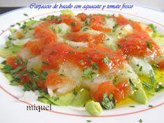 Les receptes del Miquel: Carpaccio de bacalao con aguacate y tomate fresco