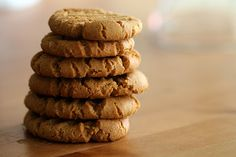 HEALTHY PEANUT BUTTER COOKIES  Ingredients:  1 Cup Peanut butter  1 Cup Sugar  1 TSP baking soda  1 egg     Mix the peanut butter and sugar first then add in the egg and baking soda. Bake for 10 minutes on a lightly greased cookie sheet at 350 degrees.