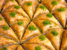 BAKLAVA~ Istanbul, Turkey ~ The many phyllo layers are separated by chopped nuts and layers of syrup or honey. ~ The family-owned landmark Karakoy Gulluoglu, which serves 3,000 to 4,000 people on an average Saturday, emphasizes the freshness of their ingredients: all-natural milk, butter, pistachios, and walnuts