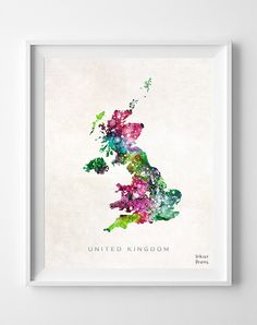 United Kingdom Map UK Watercolor British London by InkistPrints, $11.95 - Shipping Worldwide! [Click Photo for Details]