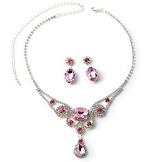 #Wholesalejewelry Silver Crystal Rhinestone and Light Rose Stones with Dangle Light Rose Teardrop Stone Necklace and Crystal Rhinestone Sunflower with Dangle Light Rose Oval Stone Earrings Jewelry Set