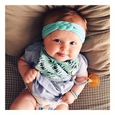 Mint knotted braided baby headband/turban/headwrap.  www.hollyblossoms.etsy.com